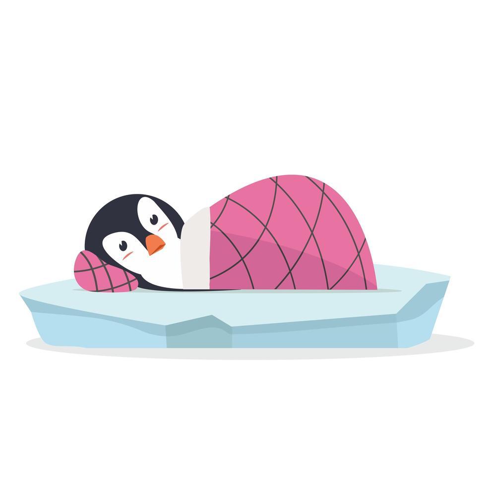 lindo pingüino durmiendo en vector de témpano de hielo