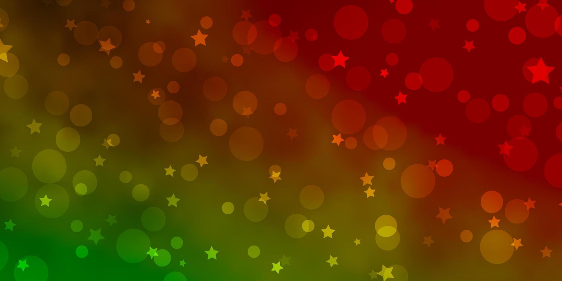 plantilla de vector verde claro, rojo con círculos, estrellas.