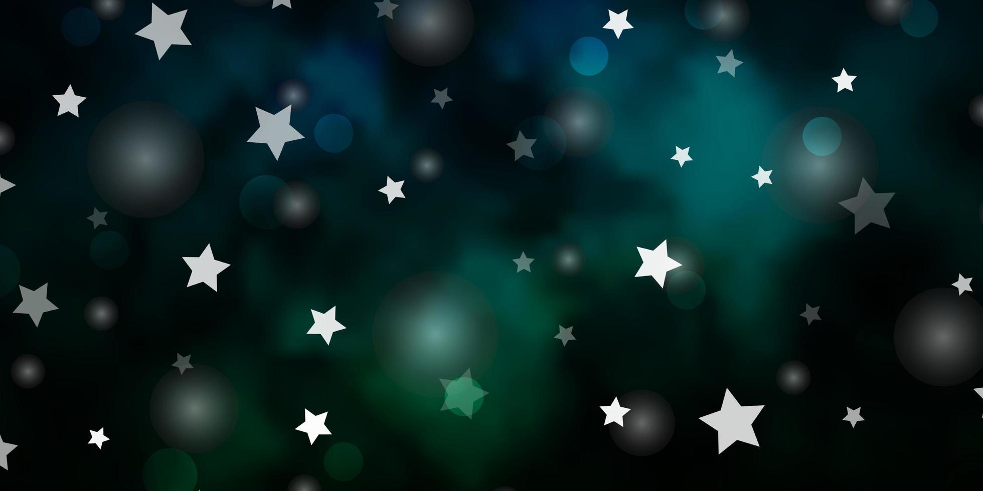 diseño de vector azul oscuro, verde con círculos, estrellas.