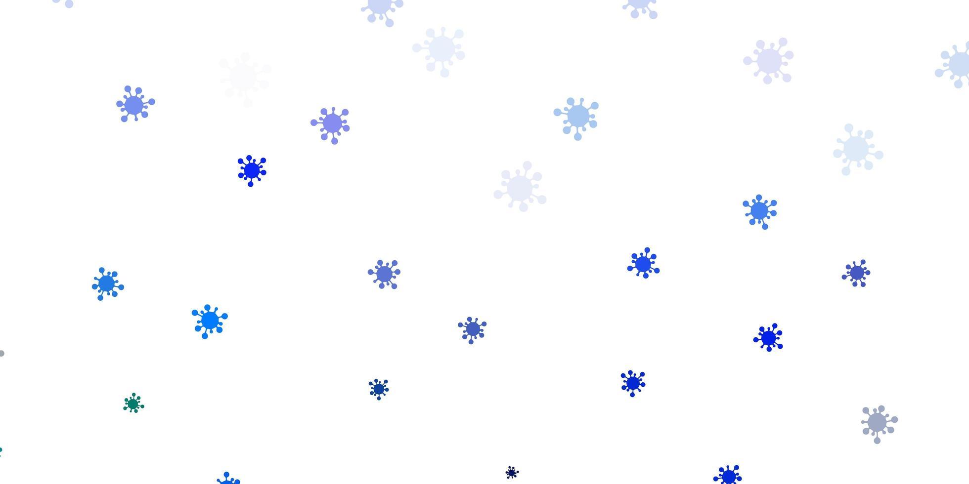 Fondo de vector azul claro, verde con símbolos covid-19.
