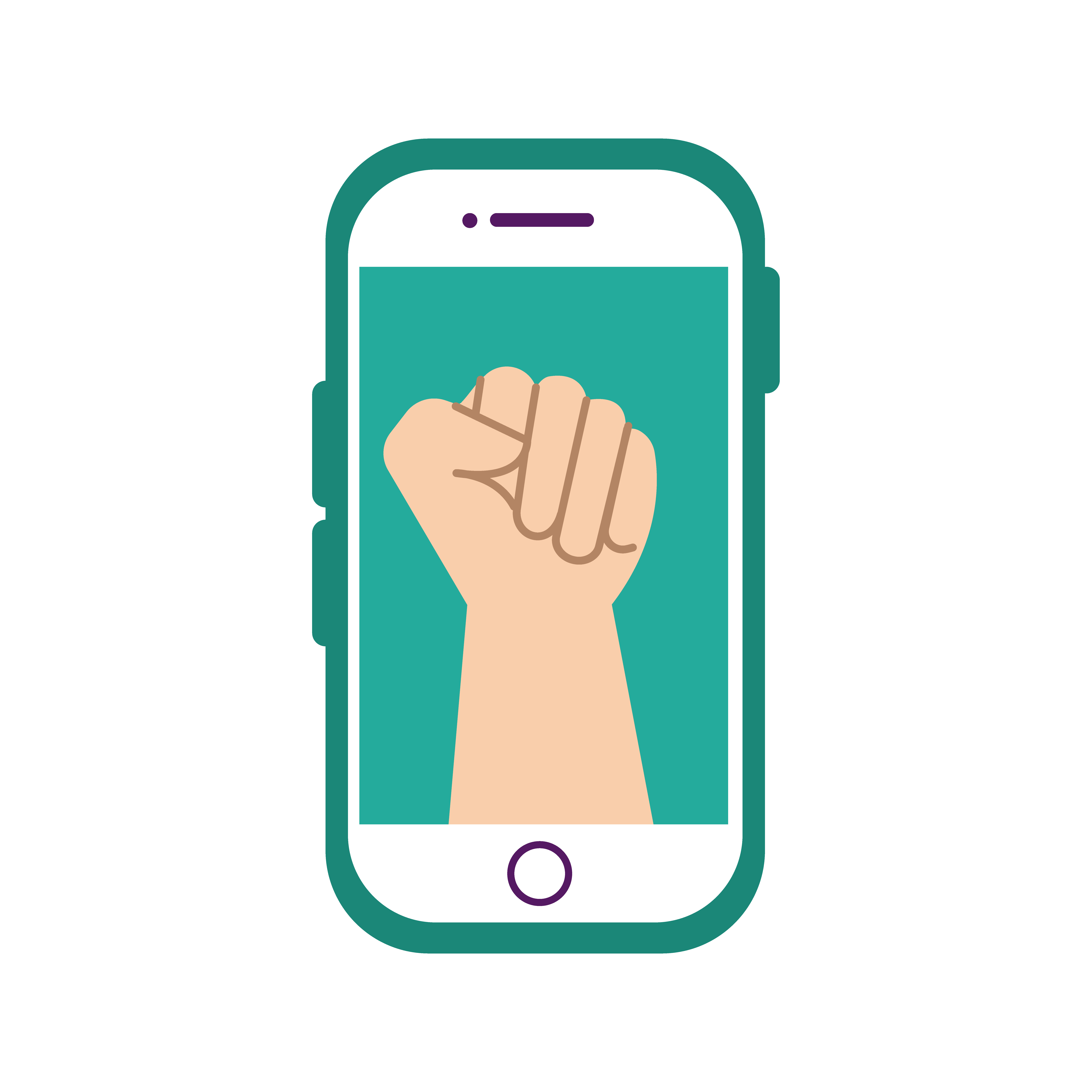 protest fist gesture on smartphone flat style icon 20 Vector ...