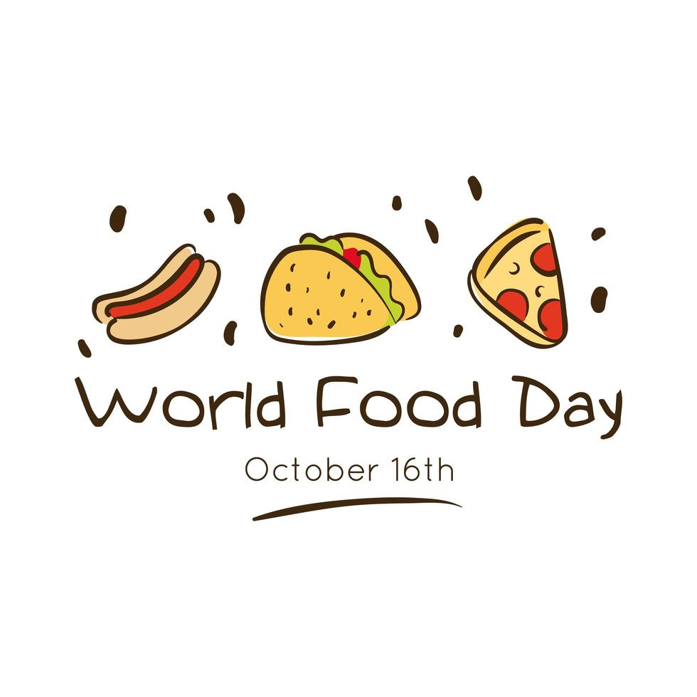 Letras de celebración del día mundial de la comida con delicioso estilo plano de comida rápida vector