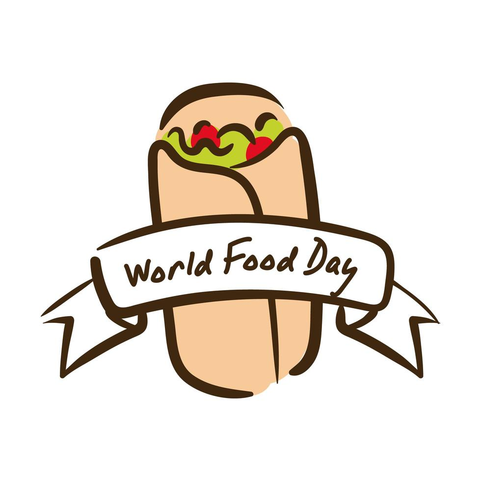 Letras de celebración del día mundial de la comida con estilo plano de burrito mexicano vector