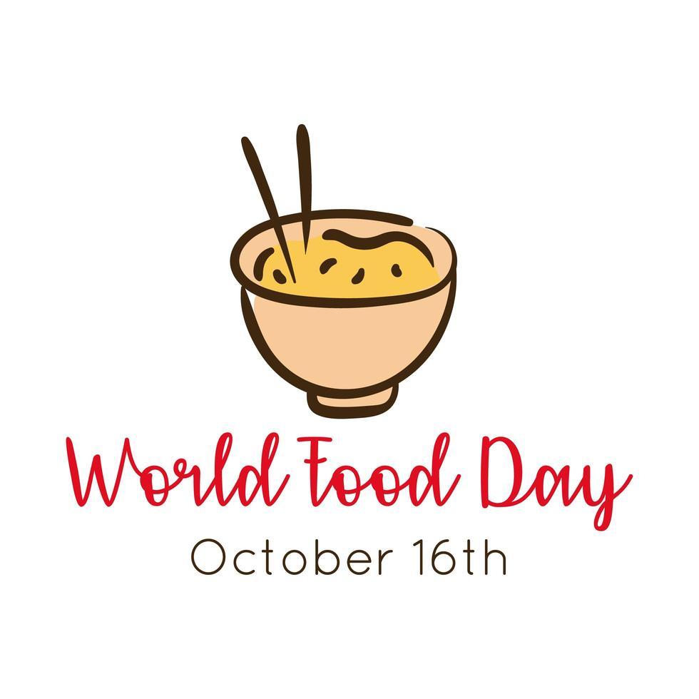 letras de celebración del día mundial de la comida con estilo plano de arroz chino vector
