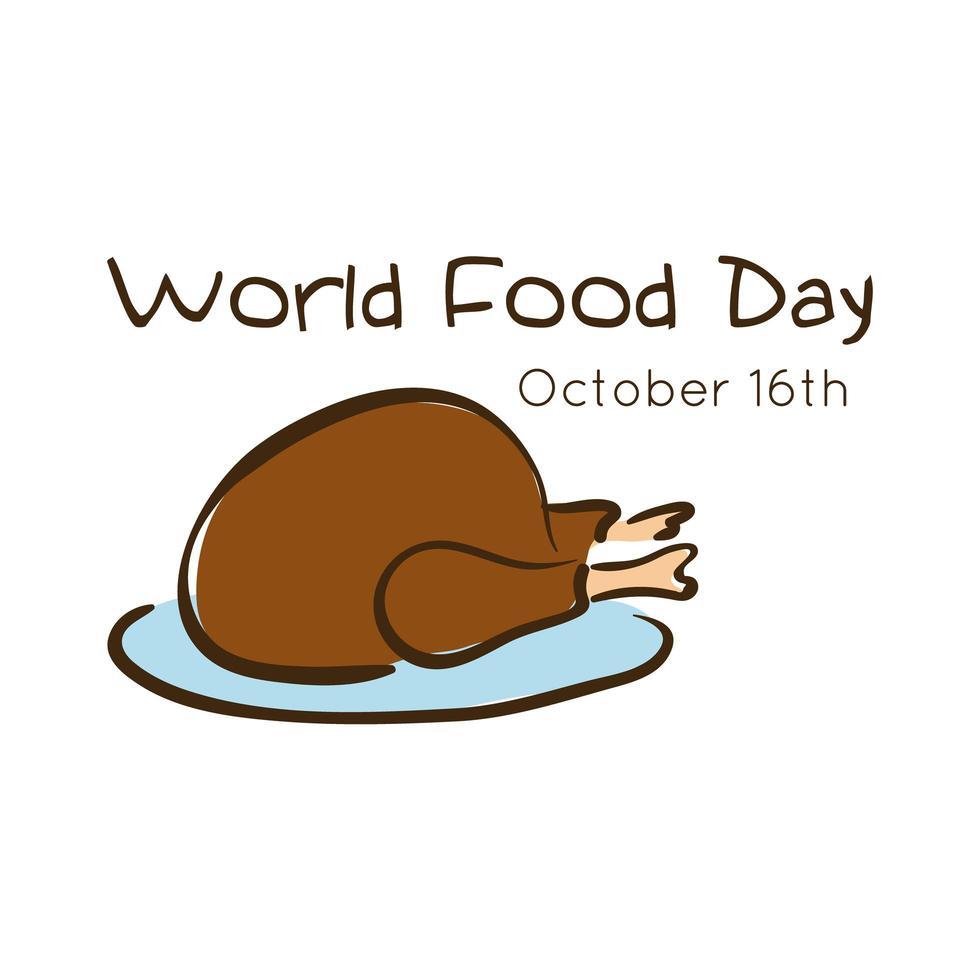 letras de celebración del día mundial de la comida con estilo plano de pavo vector