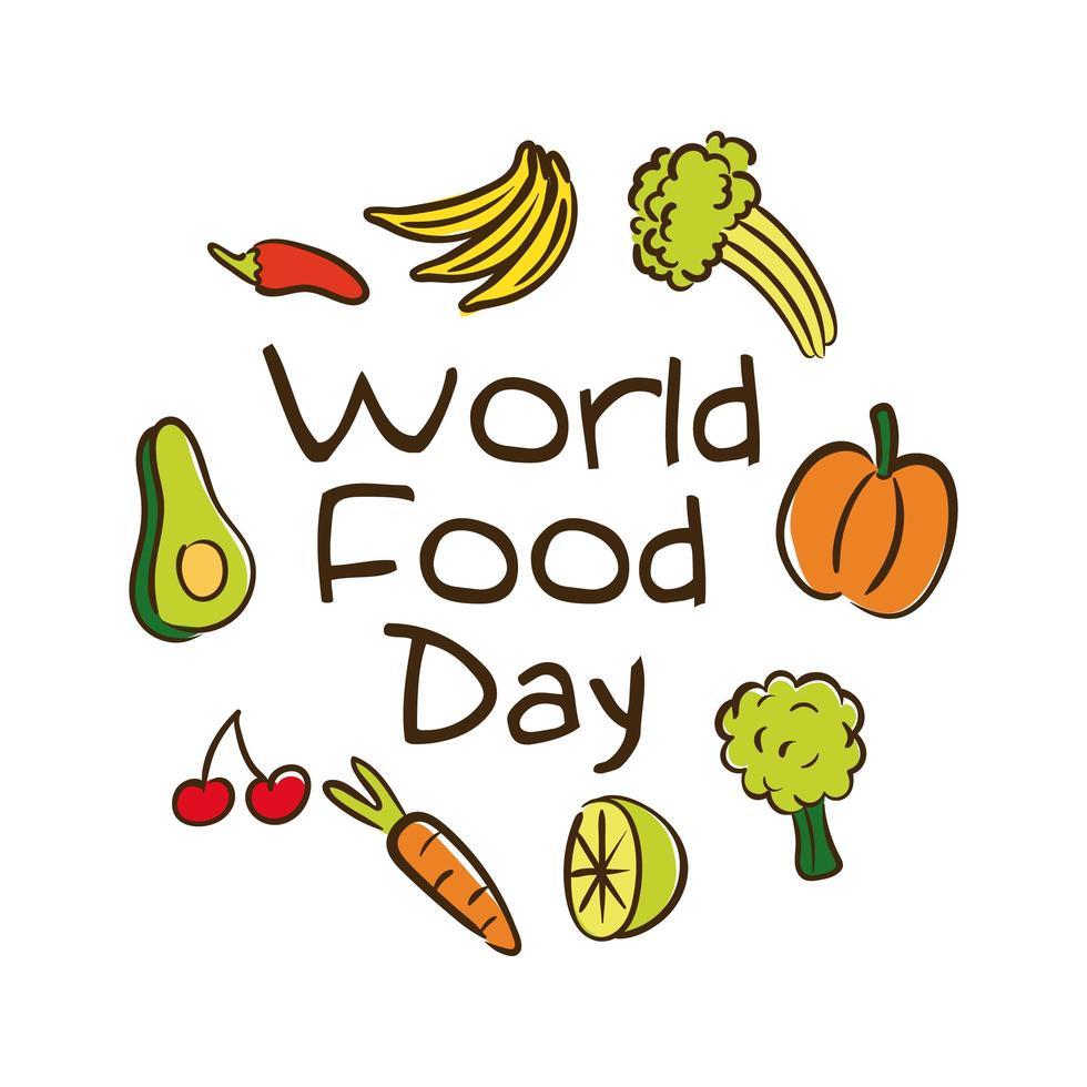 Letras de celebración del día mundial de la comida con frutas y verduras estilo plano vector