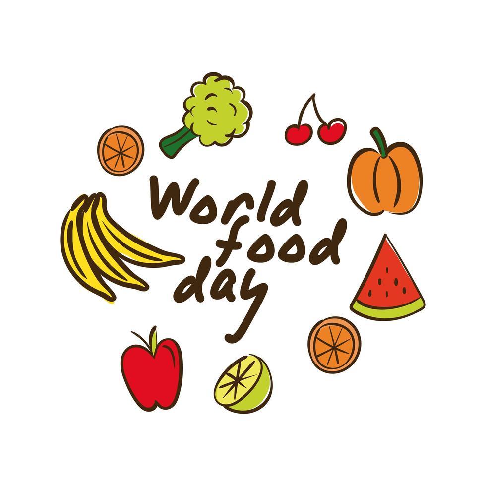 Letras de celebración del día mundial de la comida con verduras y frutas estilo plano vector