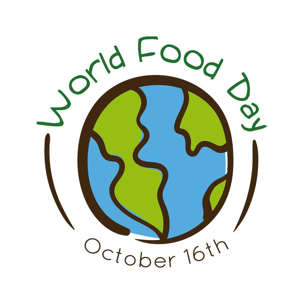 Letras de celebración del día mundial de la comida con estilo plano de tierra vector
