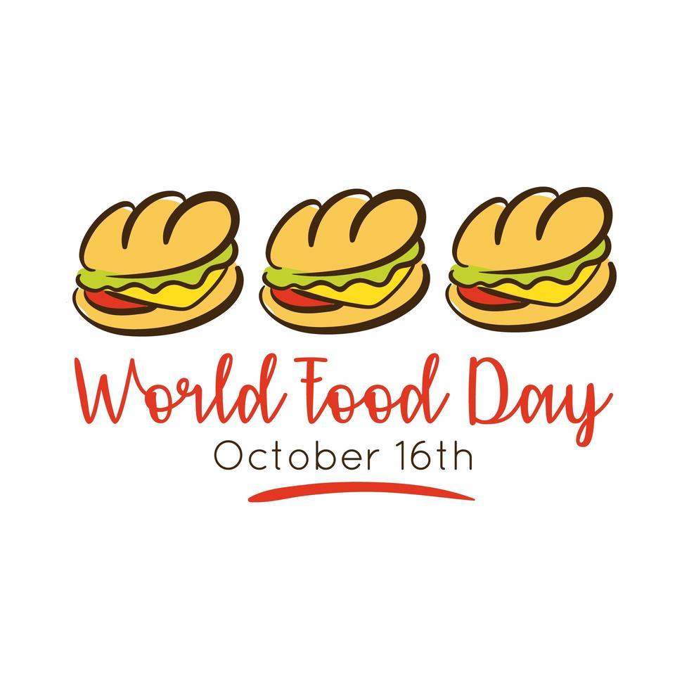 Letras de celebración del día mundial de la comida con estilo plano sándwich vector