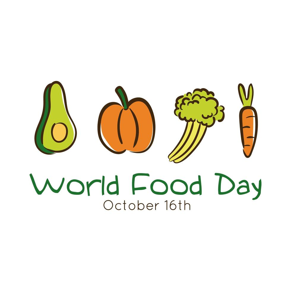 Letras de celebración del día mundial de la comida con verduras estilo plano vector