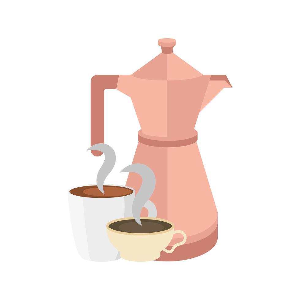 tazas de café y diseño vectorial de olla vector