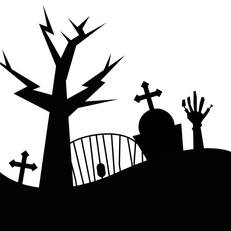diseño de vector de mano de árbol, tumba y zombie de halloween