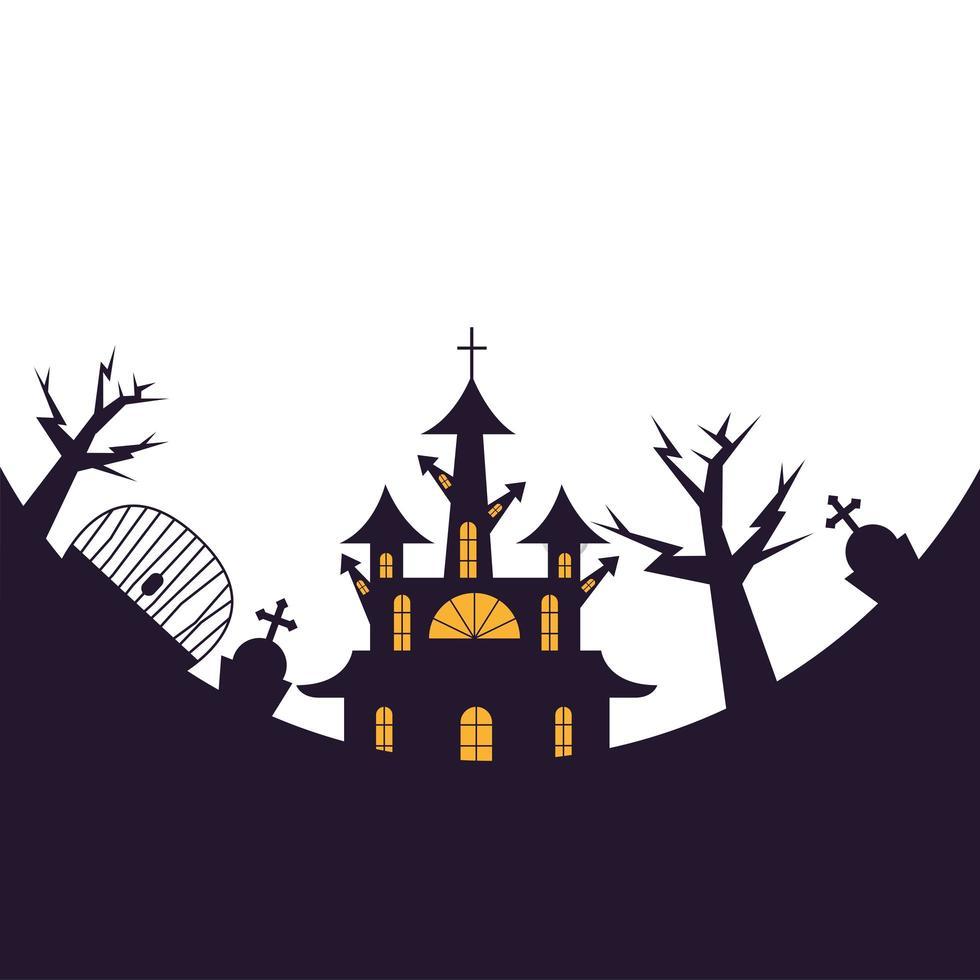 diseño vectorial de casa, tumba y puerta de halloween vector