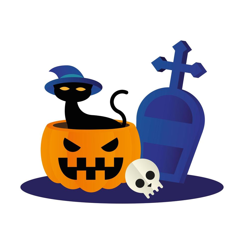 gato de halloween con sombrero en calabaza con grave diseño vectorial vector