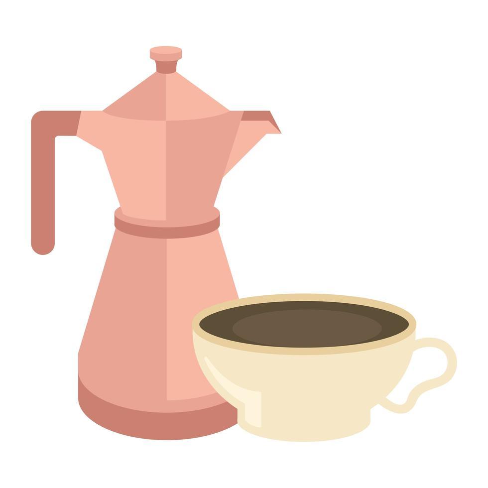 taza de café y diseño vectorial de olla vector