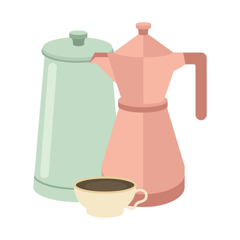 taza de café y ollas de diseño vectorial vector