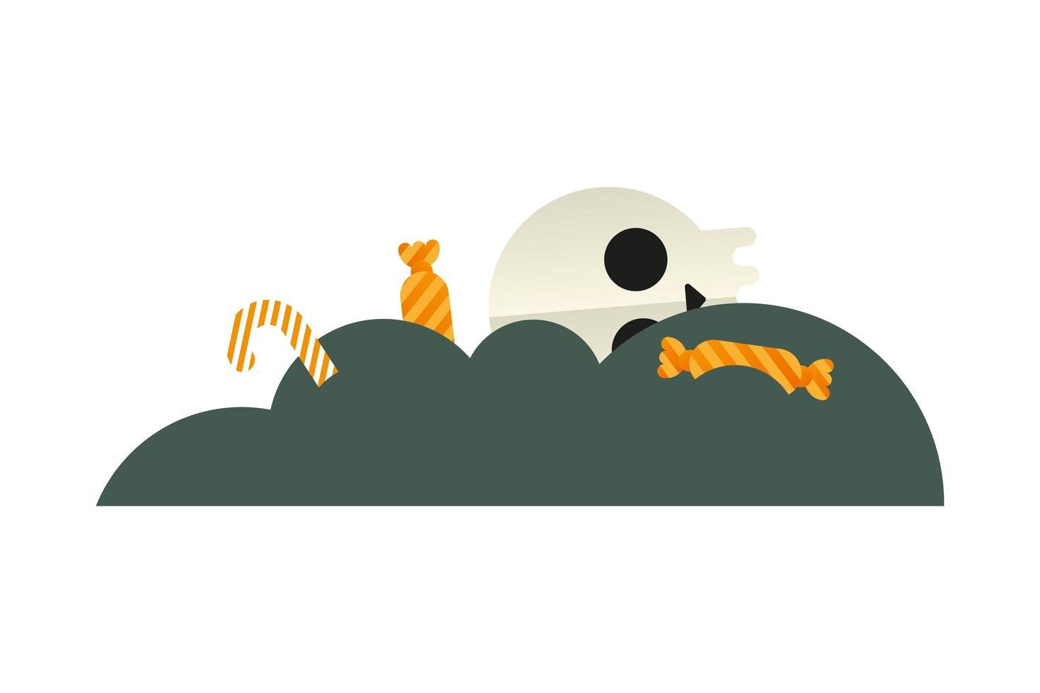 Calavera de halloween con diseño de vector de caramelos