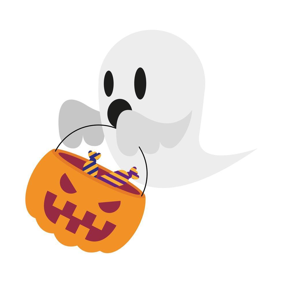 fantasma de halloween con dulces en diseño vectorial de calabaza vector