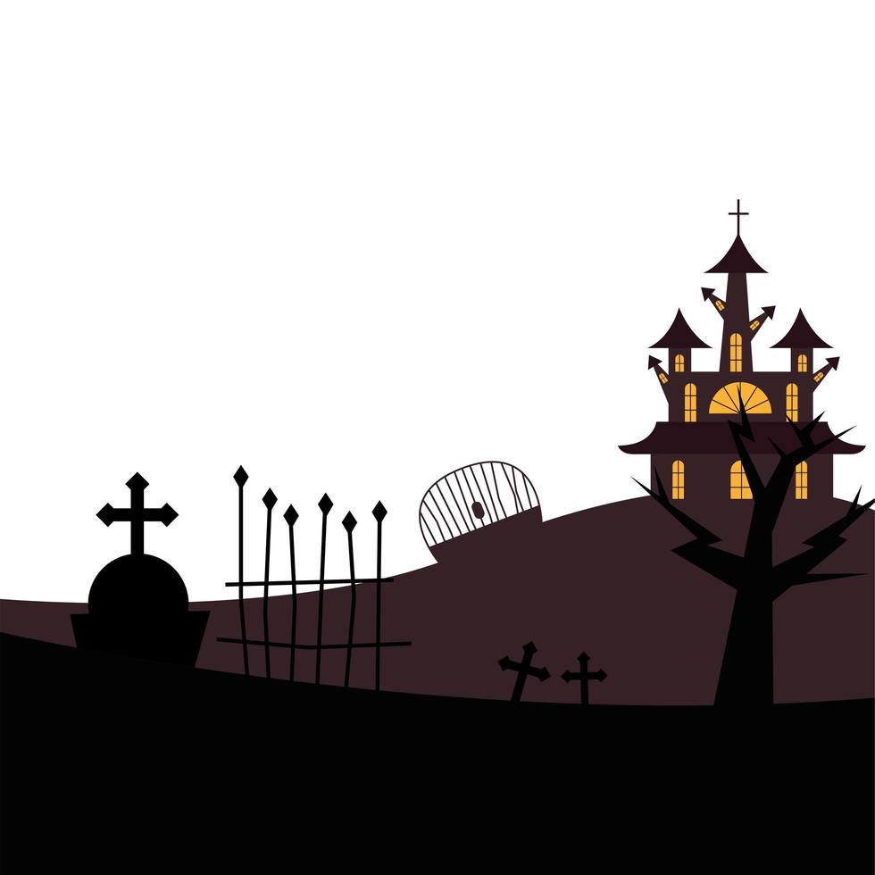 Halloween house, grave and gate vector design