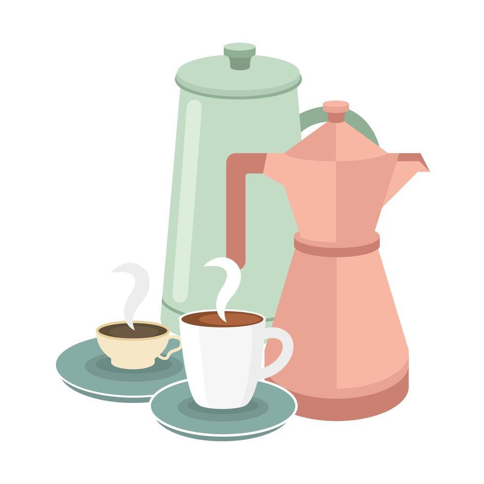 diseño vectorial de tazas y ollas de café vector