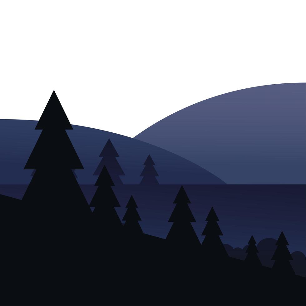pinos frente a diseño de vector de paisaje de montaña