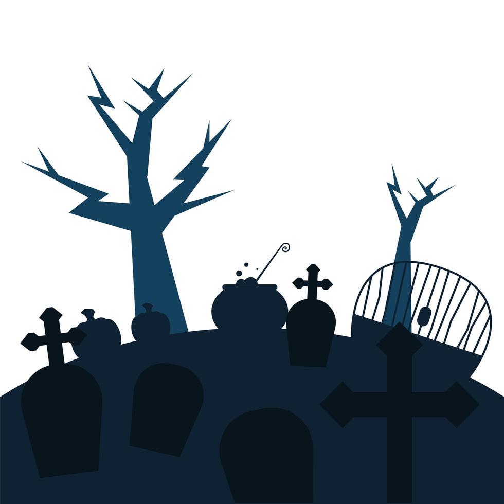 tumbas con cruces y árboles diseño vectorial vector