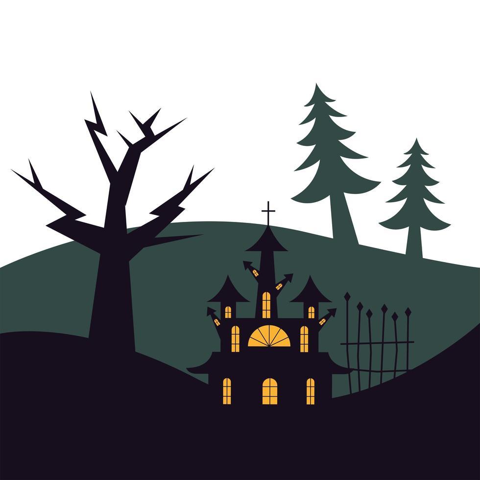 puerta de la casa de halloween y diseño vectorial de árbol vector