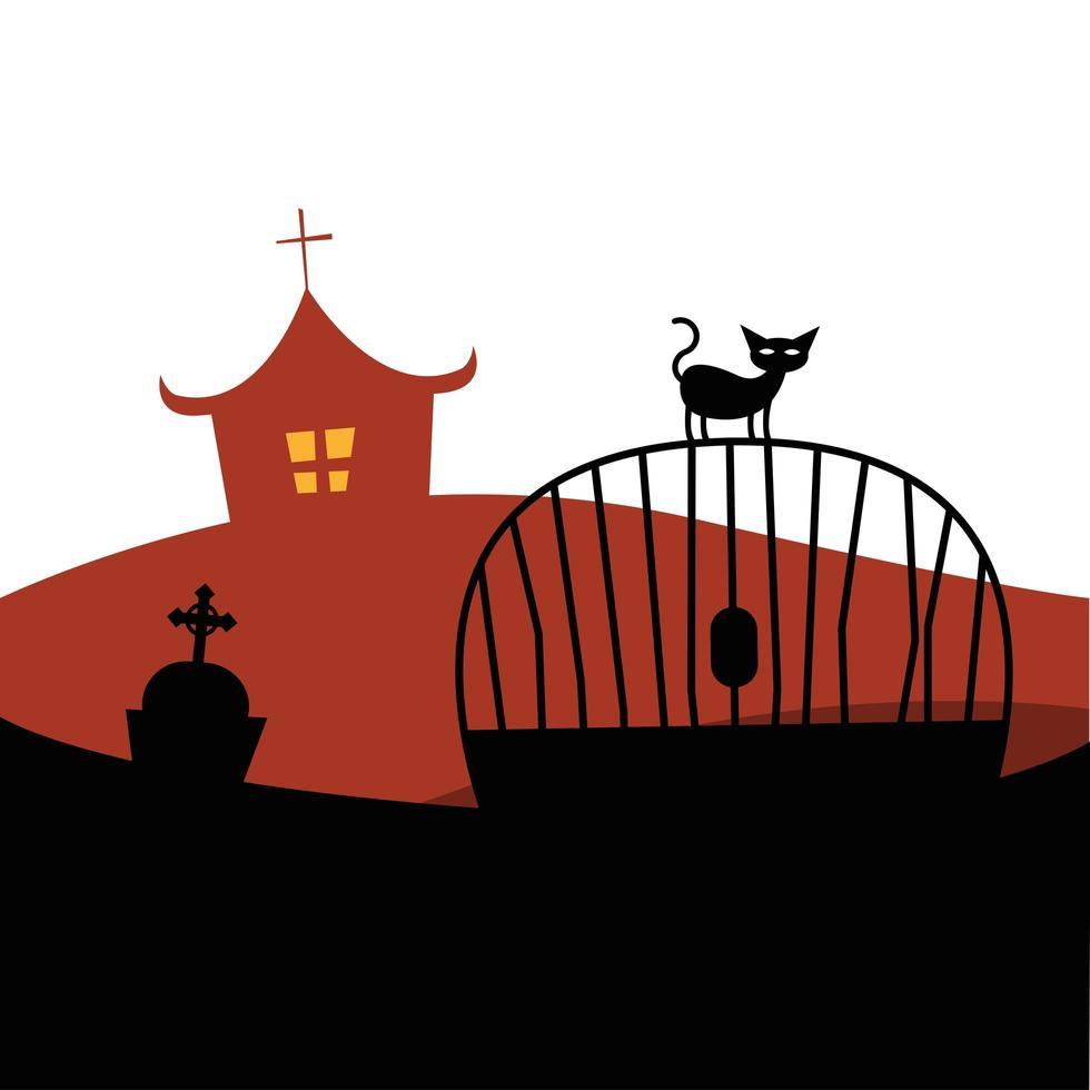 gato de halloween en la puerta frente al diseño del vector de la casa