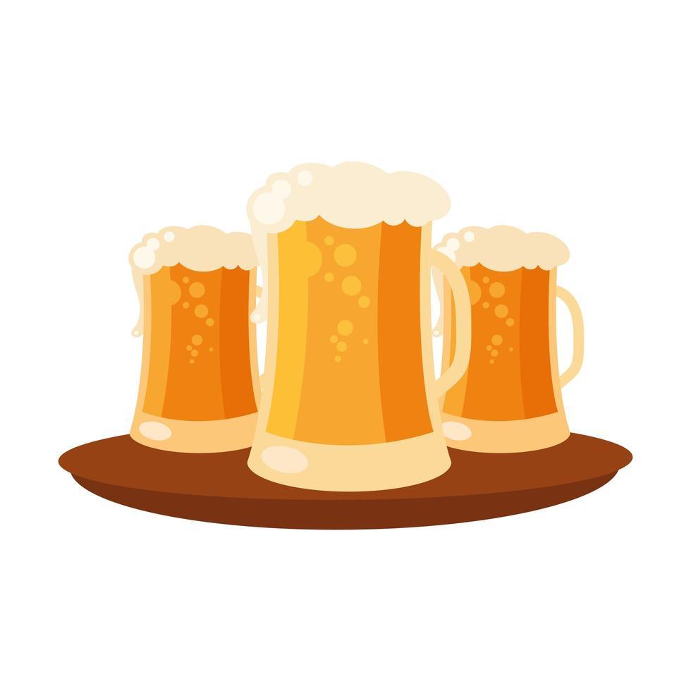 vasos de cerveza en diseño vectorial de bandeja vector