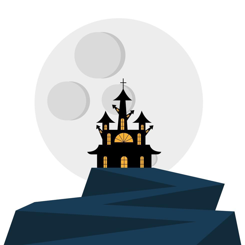 diseño de vector de casa y luna de halloween