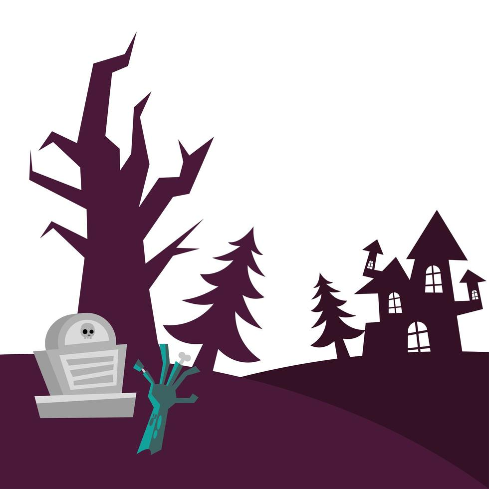 tumba de halloween, mano de zombie, casa y pinos diseño vectorial vector