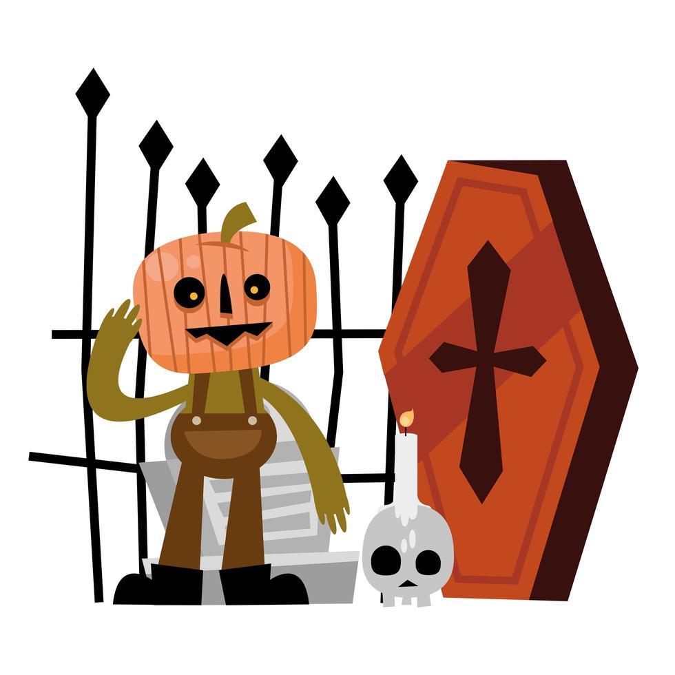 calabaza de halloween, tumba y diseño vectorial de ataúd vector
