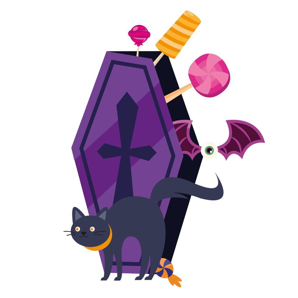 Dibujos animados de gato de Halloween y ataúd con diseño vectorial de caramelos vector