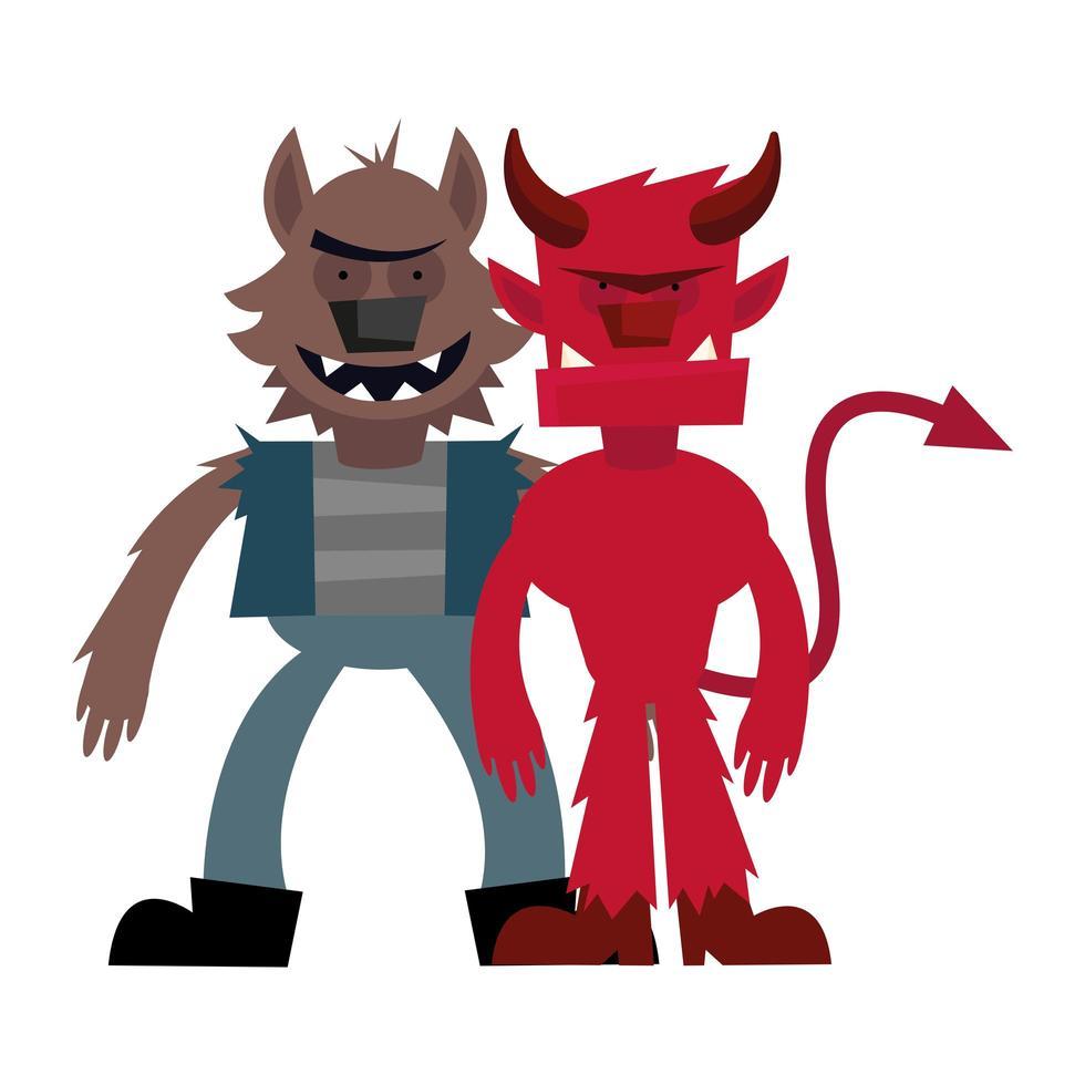 halloween werewolf and devil cartoon vector design