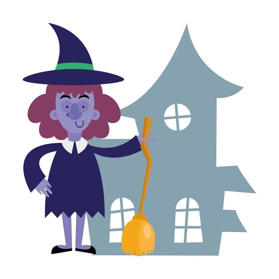 diseño de vector de dibujos animados de bruja de halloween