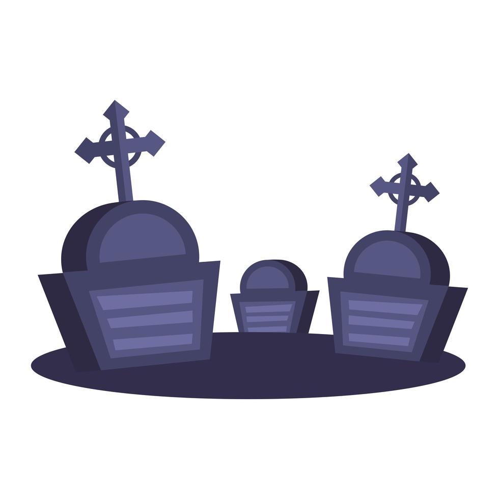 tumbas con cruces de diseño vectorial vector