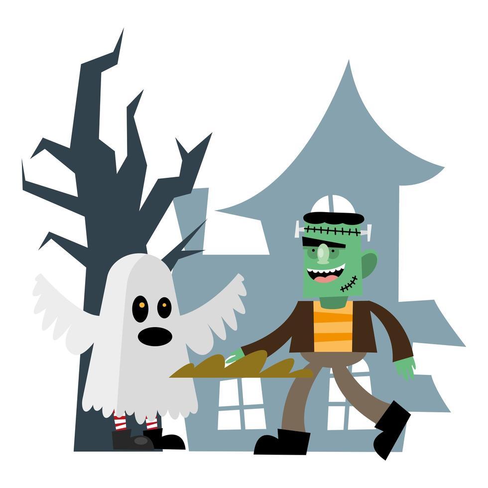 diseño de vector de dibujos animados de halloween frankenstein y fantasma