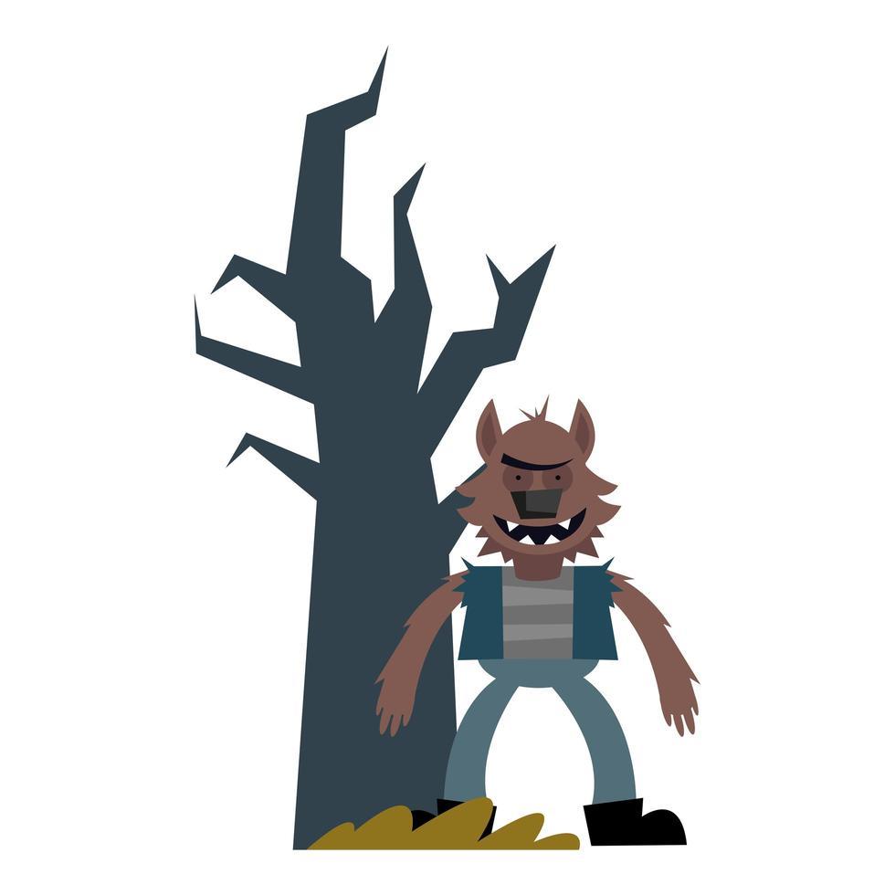 dibujos animados de hombre lobo de halloween con diseño de vector de árbol desnudo