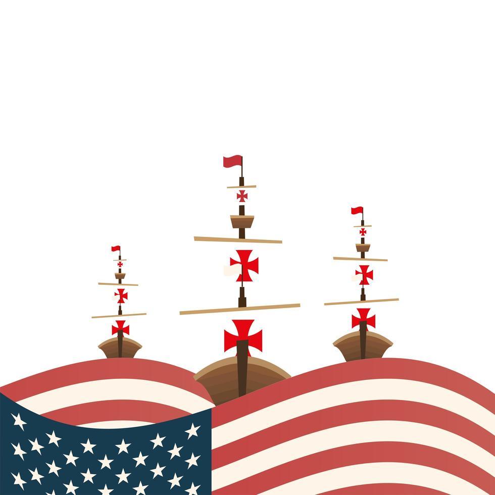 Cristóbal Colón se envía con diseño vectorial de EE. UU. vector