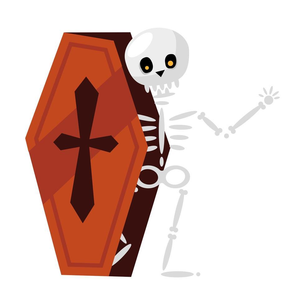 Dibujos animados de calavera de Halloween en diseño vectorial de ataúd vector