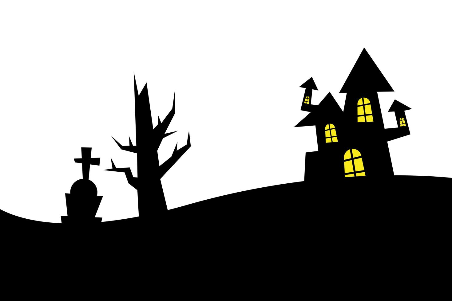 halloween house, grave and bare tree vector design
