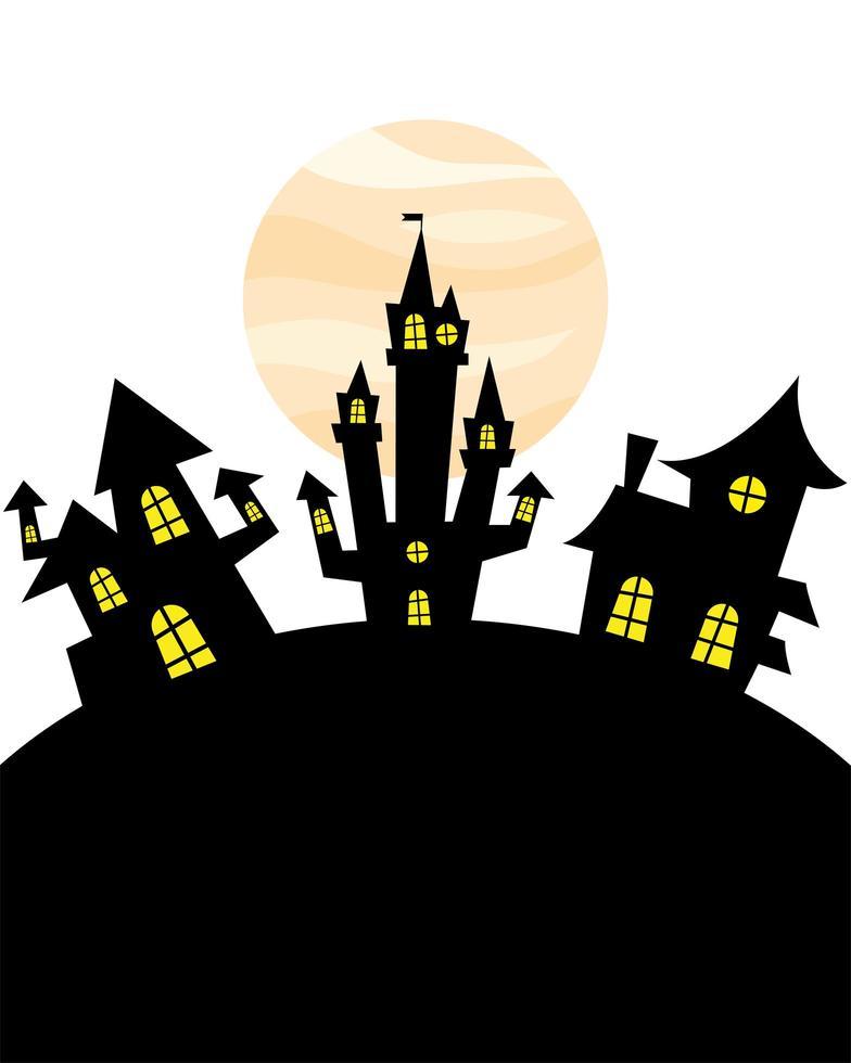 halloween houses in front of moon vector design