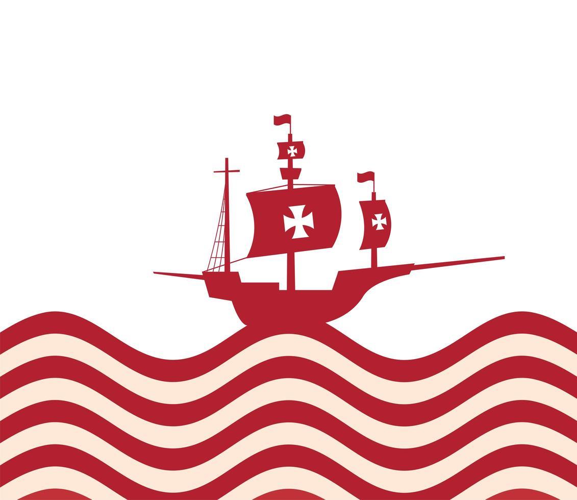 barco de cristóbal colón en el diseño del vector del mar rayado