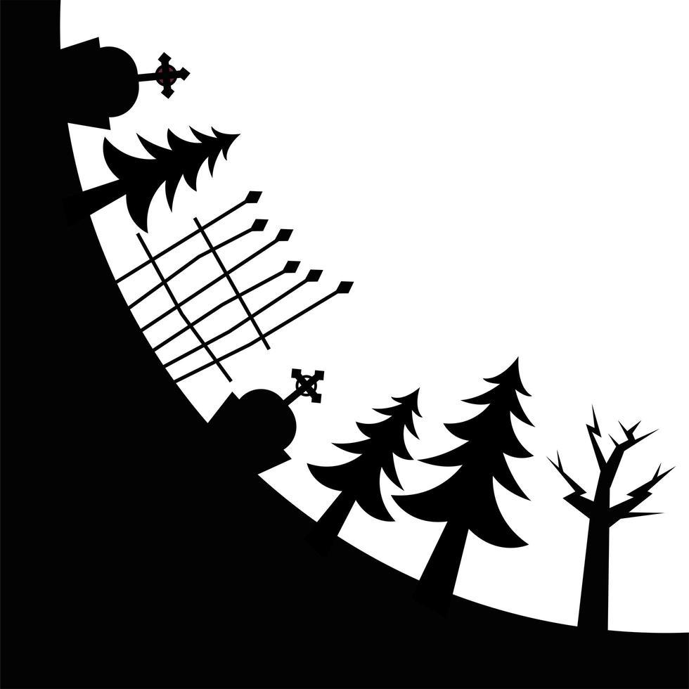 Halloween cementerio pinos y diseño vectorial de puerta vector