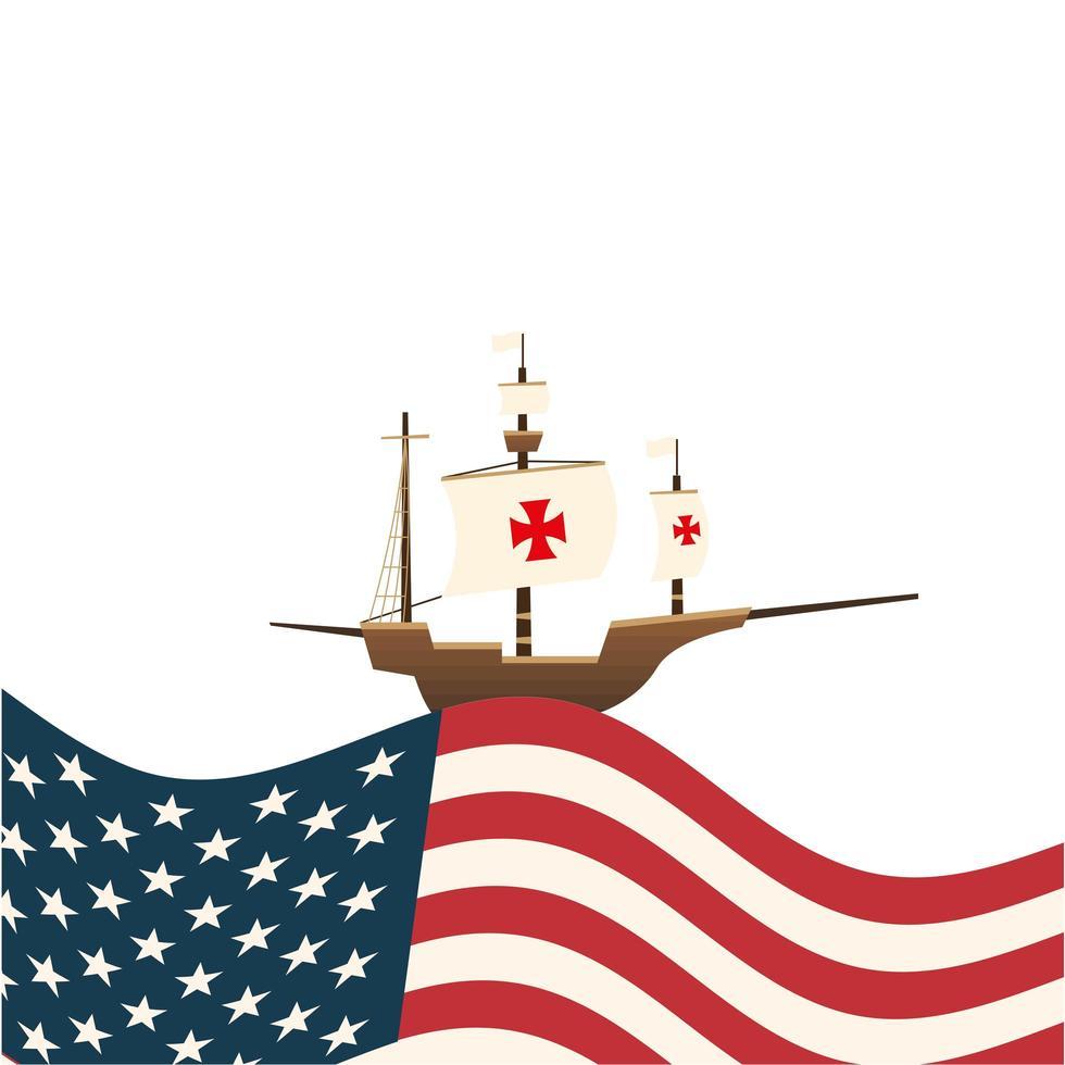 Barco de Cristóbal Colón con diseño vectorial de Estados Unidos vector
