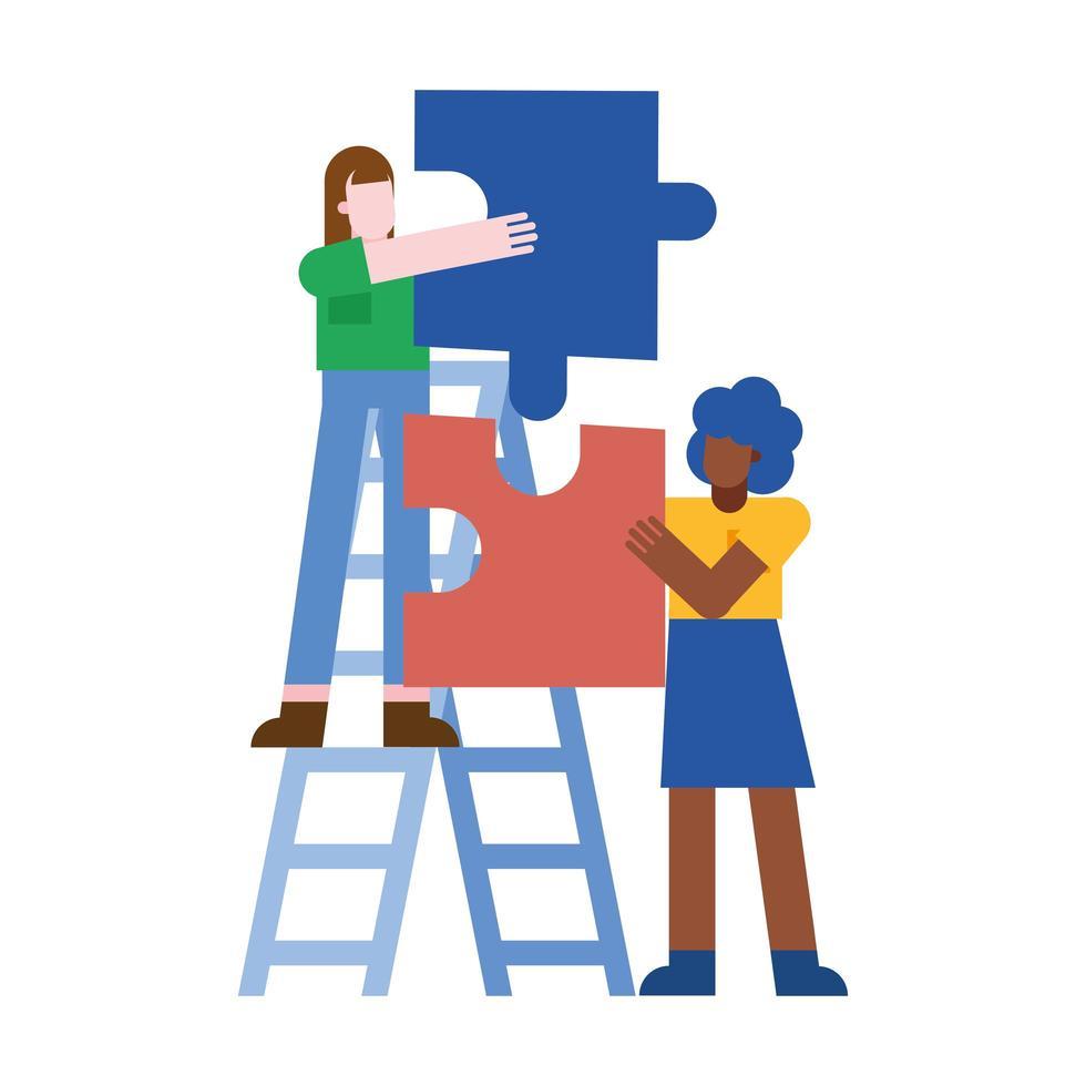Mujeres con rompecabezas en el diseño de vectores de escalera