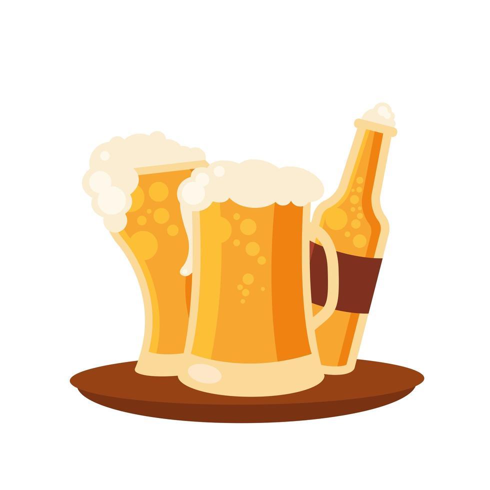 vasos de cerveza y diseño vectorial de botella vector