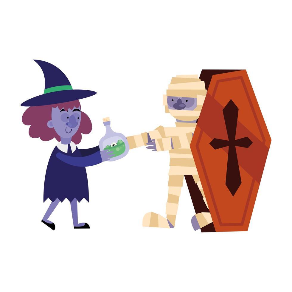 Bruja de Halloween con veneno y dibujos animados de momia en diseño vectorial de ataúd vector