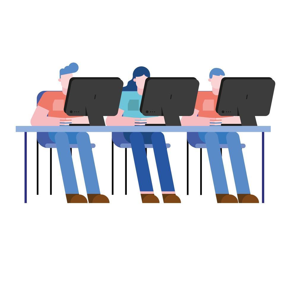 Hombres y mujeres en el escritorio de oficina con diseño vectorial de computadoras vector
