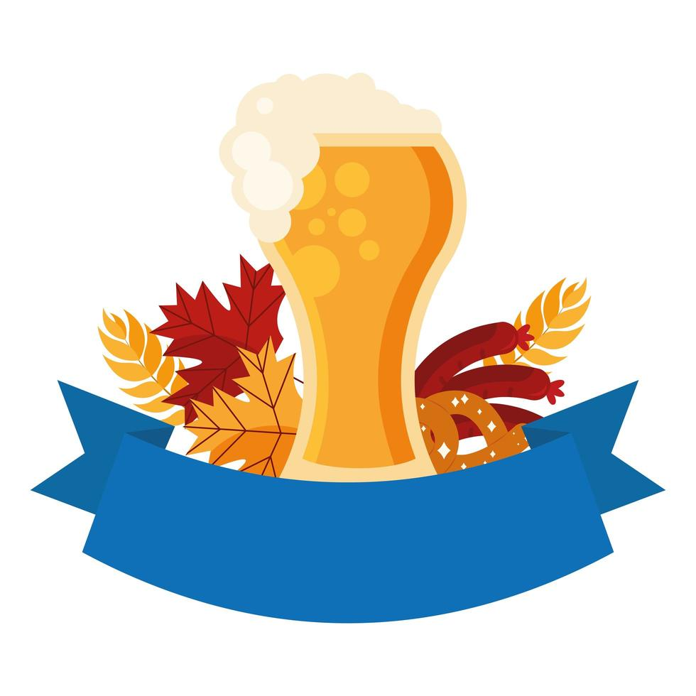 Oktoberfest cerveza vaso, pretzel y diseño vectorial de salchicha vector